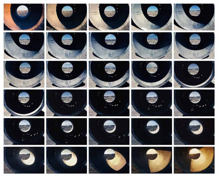 A composite photograph of 30 frames recording the transition of sunlight through a Sun Tunnel at half hour intervals.