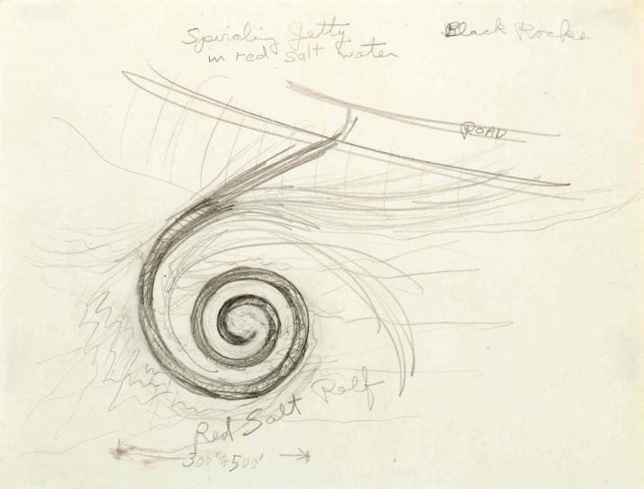 A drawing of Spiral Jetty